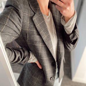 Grey Plaid Wool Blazer Zara - Size Small